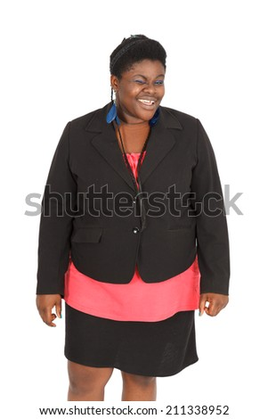 Beautiful black woman doing different expressions in different sets of clothes: blinking - stock photo