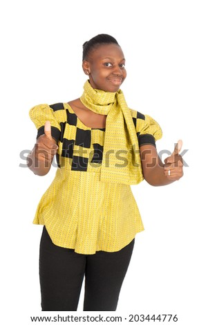 Beautiful black woman doing different expressions in different sets of clothes: thumbs up - stock photo
