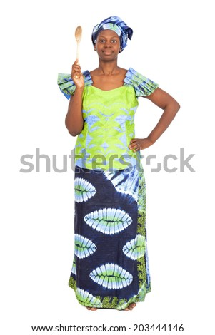 Beautiful black woman doing different expressions in different sets of clothes with spoon - stock photo
