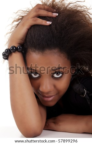 beautiful black woman, holding her hair with his hands, isolated on white background - stock photo