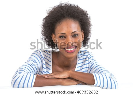 Beautiful black woman portrait - isolated over a white background - stock photo