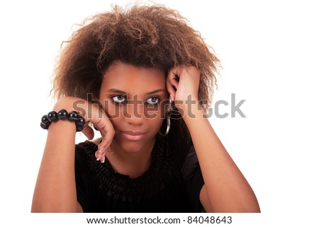 beautiful black  woman, with a sad look, isolated on white background