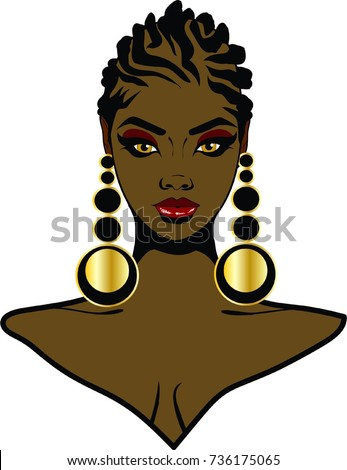 Beautiful Black Woman Braid Hairstyle Earrings Stock