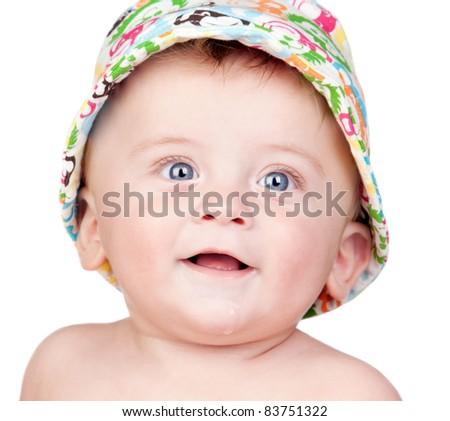 Beautiful blond babe with blue eyes isolated on white background - stock photo