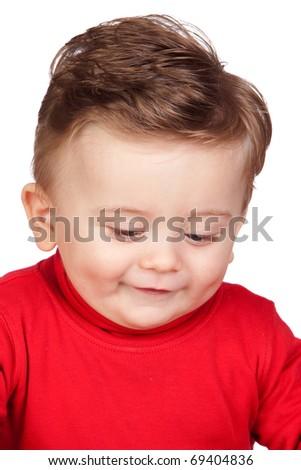 Beautiful blond baby isolated on white background - stock photo