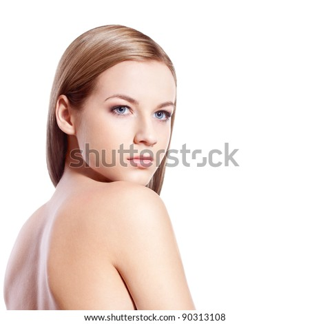 beautiful blond-brown woman face and shoulder over white - stock photo