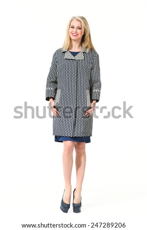 beautiful  blond business woman fashion model in trench coat - stock photo