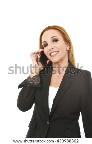 beautiful blond businesswoman talking on mobile phone smiling happy and confident in communication concept isolated on white background - stock photo