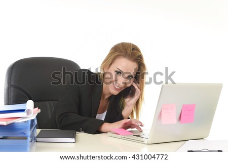 beautiful blond businesswoman working at office laptop computer desk talking on mobile phone smiling happy and confident in communication concept isolated on white background - stock photo