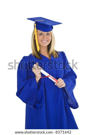 Beautiful blond Caucasian woman wearing a blue graduation gown stand on a white background and holding a diploma isolated on a white background