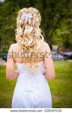 Beautiful blond hair bride - stock photo