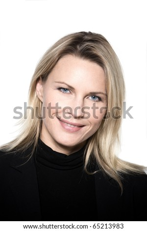 beautiful blond hair woman smiling portrait on studio white isolated background