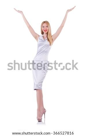 Beautiful blond in elegant dress isolated on white - stock photo
