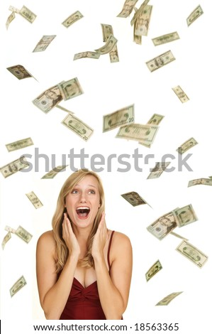 Beautiful blond in red dress on white background with hundred and twenty dollars bills falling around her