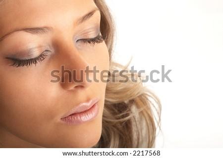Beautiful blond model shot in my studio - stock photo