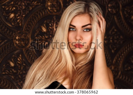 beautiful blond model with long hair - stock photo