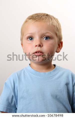 Beautiful Blond toddler with big blue eyes