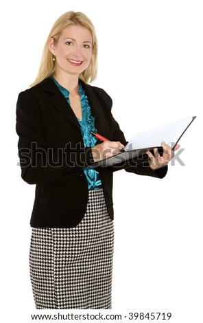 beautiful blond wearing business outfit on white background