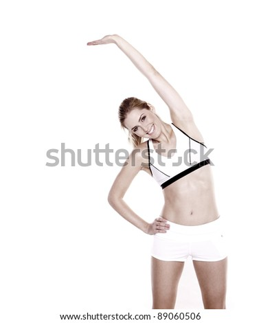 Beautiful blond woman doing stretching exercise, Stretching exercise