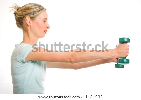 Beautiful blond woman exercise on white isolated background - stock photo