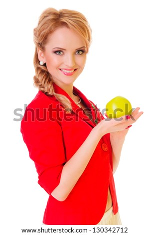 beautiful blond woman holding green apple in her hands . close-up portrait. isolated on white background