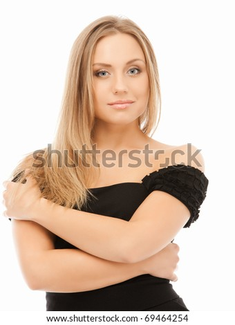 beautiful blond woman in black dress isolated on white - stock photo