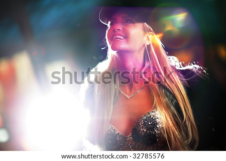 Beautiful blond woman in fur coat in night city. Shallow DOF.