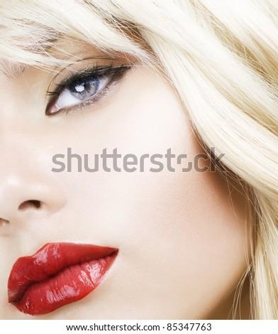 Beautiful Blond Woman Makeup.Red Lipstick.Retro Style - stock photo