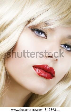 Beautiful Blond Woman Portrait.Hairstyle.Makeup - stock photo
