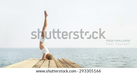 Beautiful blond woman practicing yoga at seashore and meditating  - stock photo