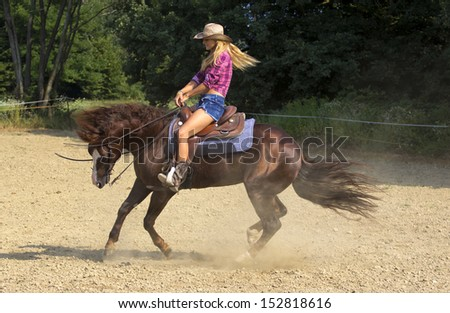 Beautiful blond woman riding brown horse. - stock photo