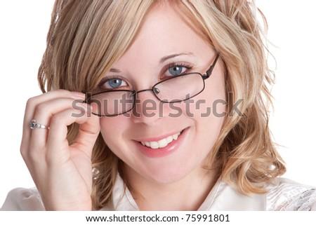 Beautiful blond woman wearing glasses - stock photo