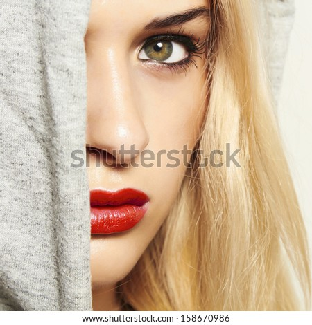 beautiful blond woman with red lips - stock photo