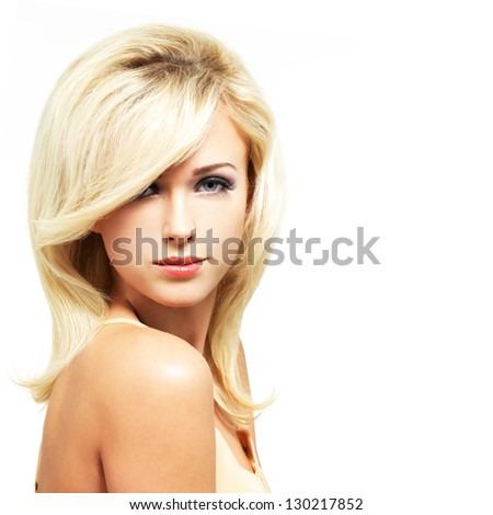 Beautiful blond woman with style hairstyle isolated on white background - stock photo