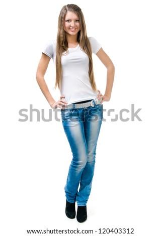 Beautiful blond women in a white t-shirt - stock photo