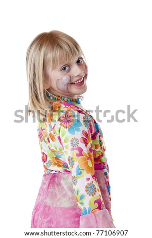 Beautiful blond young girl in carnival costume smiles happy. Isolated on white background. - stock photo