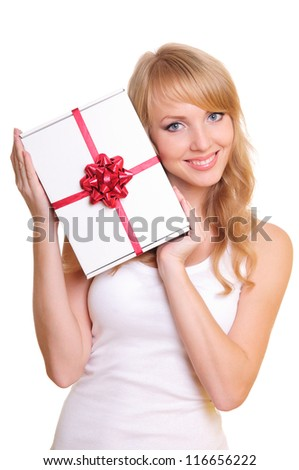 beautiful blonde and a gift box. Portrait isolated on white background