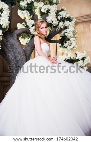 beautiful blonde bride in a luxurious wedding dress in interior