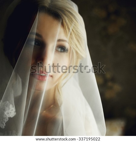 Beautiful blonde bride in make-up and veil in a stylish white dress close-up - stock photo