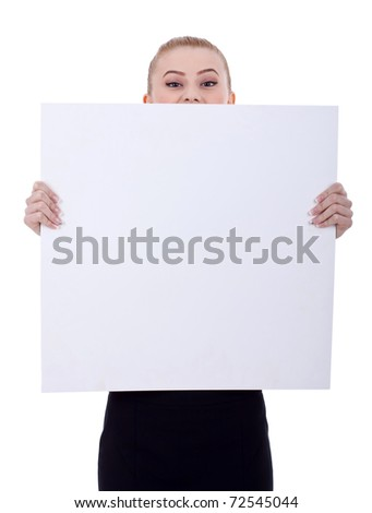 Beautiful blonde business woman holding a blank billboard. Isolated on white - stock photo