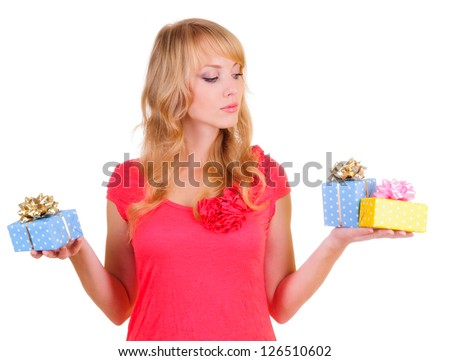beautiful blonde businesswoman and a gift boxes. Portrait isolated on white background