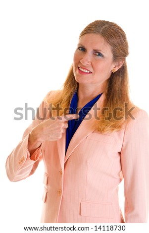 "Beautiful blonde executive business woman in a pink suit pointing at herself to say ""I'm the one who did that!"" - stock photo"