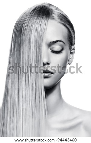 Beautiful Blonde Girl. Healthy Long Hair. BW Image