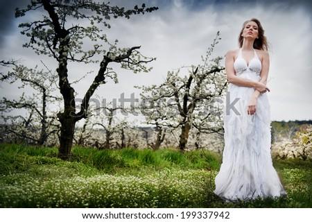 beautiful blonde girl in a white flowering garden - stock photo