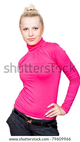 Beautiful blonde girl in pink turtleneck and makeup. Isolated on white background