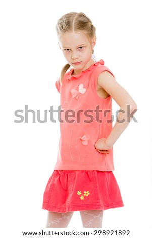 Beautiful blonde girl with blond hair braided plaits in pink shirt and short skirt stands frowning in front of the camera, close-up , the girl is very upset-Isolated on white background - stock photo