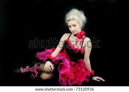 beautiful blonde in black and pink dress shoes - stock photo