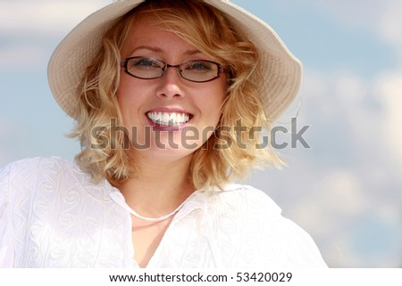 beautiful blonde in the hat - stock photo