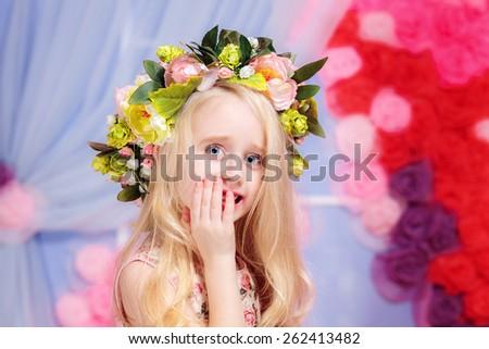 beautiful blonde little girl - stock photo