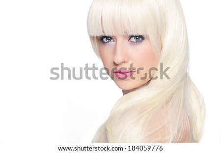Beautiful blonde over white background - stock photo